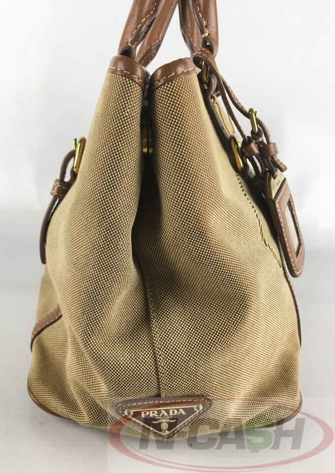 d6f43689222a Prada Logo Jacquard Corda Brandy Two-Way Bag BN1841