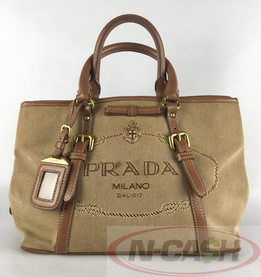 540295e4ae66 PRADA Logo Jacquard BN1841 Corda+Brandy Two-Way Bag | N-Cash